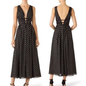 Monique Lhuillier plunge gold dot midi dress